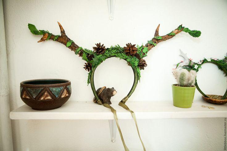 """Купить Ободок с рожками """"Рога мудрого оленя"""" - зеленый, ободок с рожками, олень, оленьи рога"""