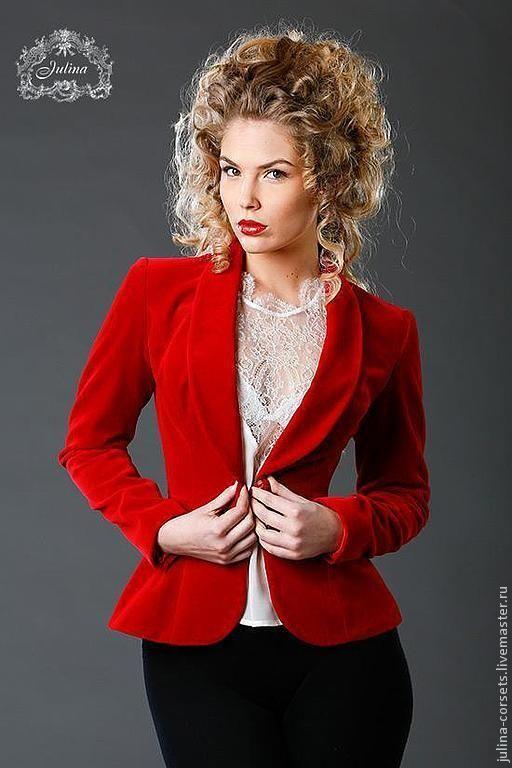"""Купить Пиджак бархатный """"Королевский пурпур"""" - ярко-красный, бархат, пиджак, жакет, жакет бархатный"""