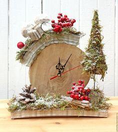 Ano Novo 2016 handmade.  Mestres Fair - handmade.  Compre hora de Inverno.  Handmade.  Bege, casa relógio, natal