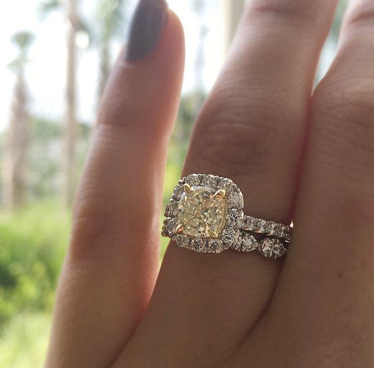 Henri Daussi 18k White Gold Yellow Cushion Cut Diamond Halo Engagement Ring ($7,830)