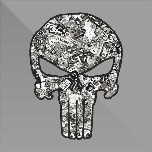 Sticker Bomb Punisher Teschio Skull Crâne Cráneo Schädel - Decal Auto Moto Casco Wall Camper Bike Adesivo Adhesive Autocollant Pegatina Aufkleber - cm 15