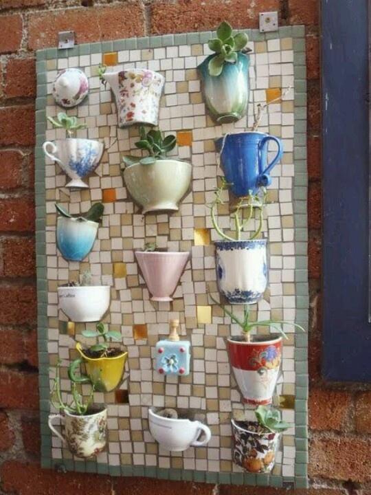 Teacup/Coffee Mug Tiled Planter Wall