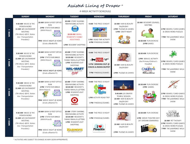 Assisted Living of Draper Other Activity Calendars