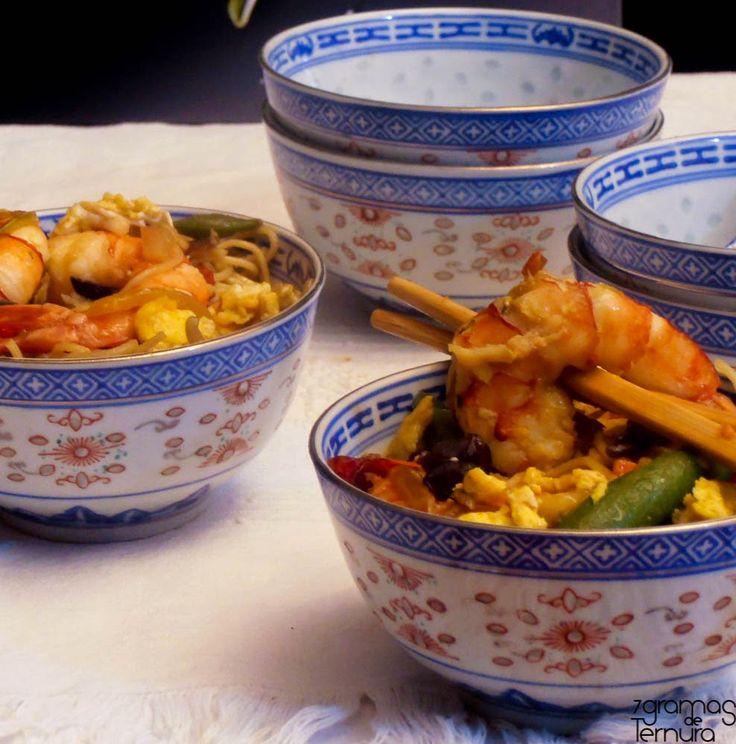 7gramas de ternura: Noodles com Camarão e Vegetais Chineses
