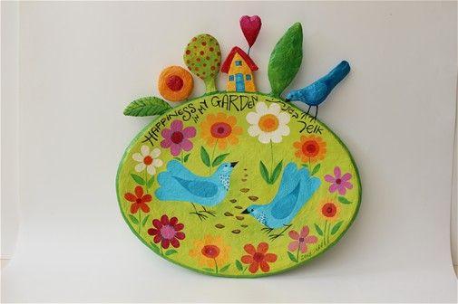Happiness in my garden papier mache' plate 35 cm weide Liat Binyamini Ariel