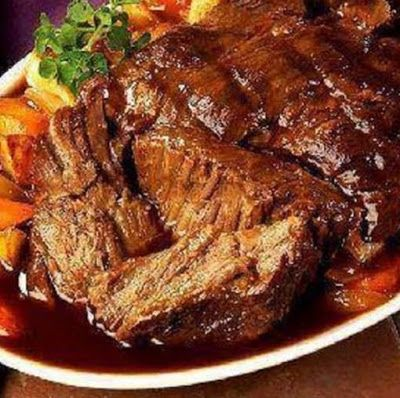 3 pound beef roast such as chuck roast 1 envelope of dry Italian salad dressing mix 1 envelope of dry ranch salad dressing mix 1 envelo...