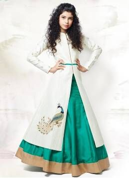 Kapadewala Kids Girl's Latest Green Bangalori Paper Silk Embroidered Lehenga Choli/Lehenga Suit (8 - 12 Years)