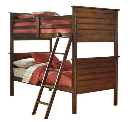 Ladiville B567-59P/59R/59S Collection Twin Size Bunk Bed with Saw Distress Effect Veneer and Hardwood Solids in Rustic Brown
