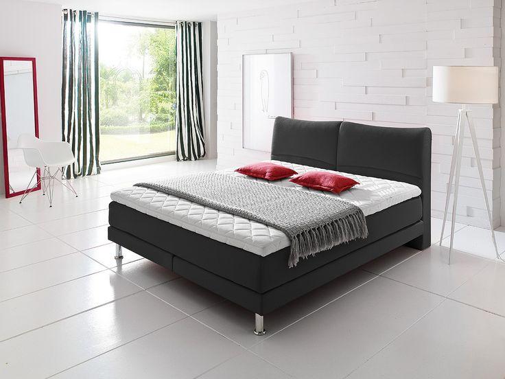 Dieses anthrazitfarbene Boxspringbett sieht nicht nur gut aus, es bietet Ihnen auch einen komfortablen und erholsamen Schlaf. Hier bleiben keine Wünsche offen.