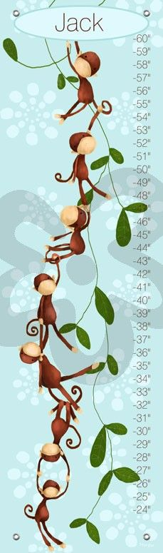 Monkeying Around, Blue - Personalized Growth Charts | Oopsy daisy