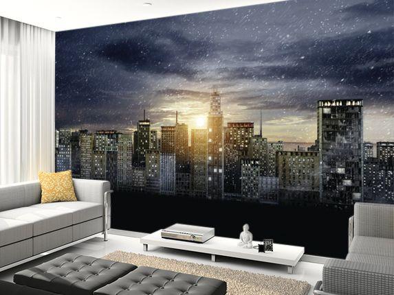 Gotham city skyline yess batman pinterest for Batman cityscape wall mural