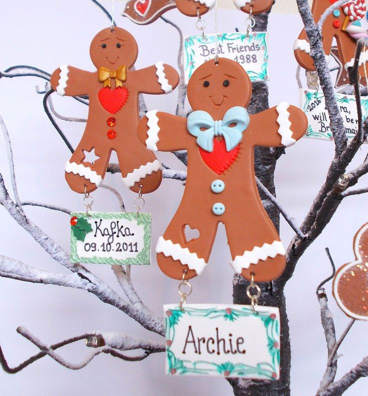 Personalised Gingerbread Man Christmas Tree Decorations Handmade Christmas Gifts