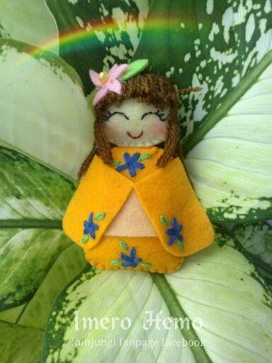 Kawaii orange felt doll