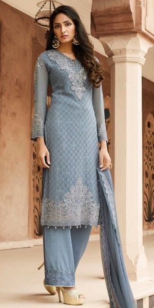 Artistic Grey Georgette Straight Suit.