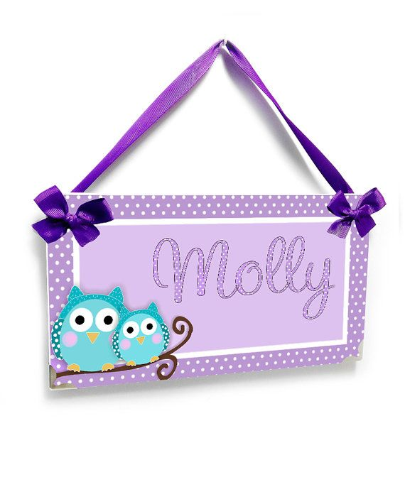 owl bedroom decor light purple and teal owls in a branch - girls door signs room or nursery  decor - P392