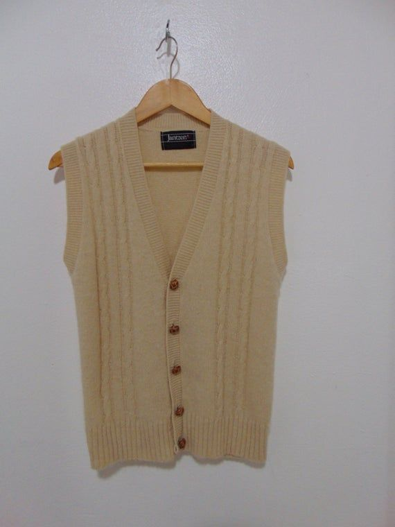 Vintage Jantzen Cream Cable Knit Fisherman Sweater Vest Beige Knit Sweater Hipster Mod Fashion Sweaters Cable Knit