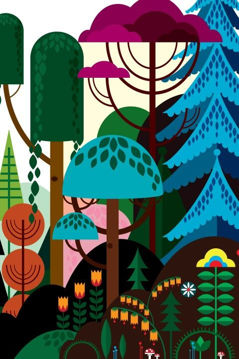Baby's room: good for boy or girl and goes well with the deep yellow.    Blik Wall Decals: Imaginary Forest by Patrick Hruby