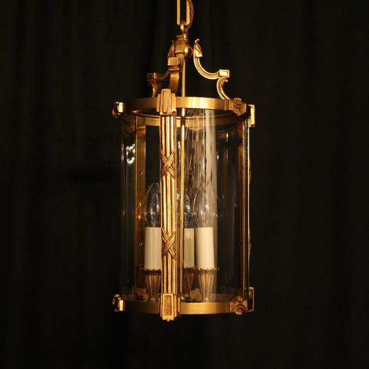 Pretty French Gilded Triple Light Antique Hall Lantern