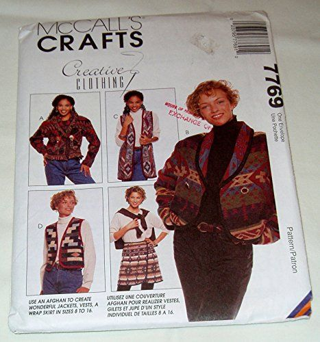 McCall's Crafts 7769 Misses' Unlined Jacket, Unlined Vest in Two Lengths and Wrap Skirt Size 8-16 McCall's