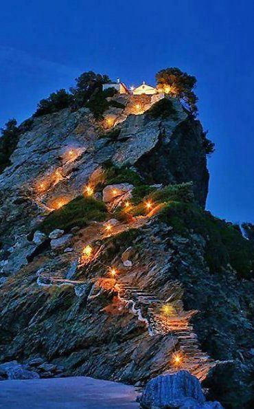Night view of Agios Ioannis chapel, Skopelos Island (Sporades), Greece