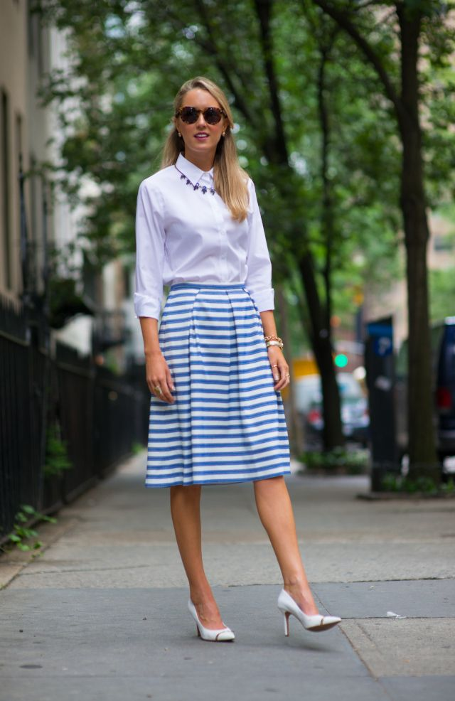 necklace with nautical-chic outfit