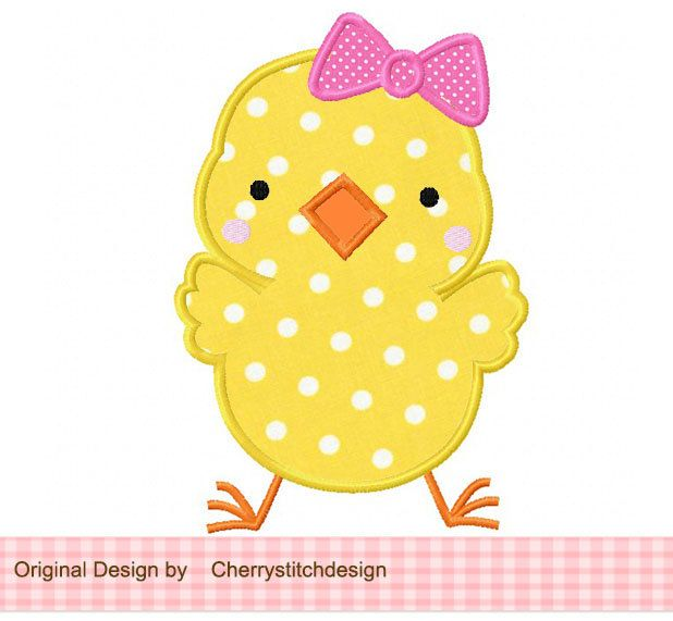 Girly Sweet Chick Applique -4x4 5x7 6x10-Machine Embroidery Applique Design. $2.99, via Etsy.