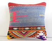 "16""sham kilim pillow case embroidered throw cushion cover southwestern turkish pillowcase ethnic pillow boho pillow cover purplish blue wool"