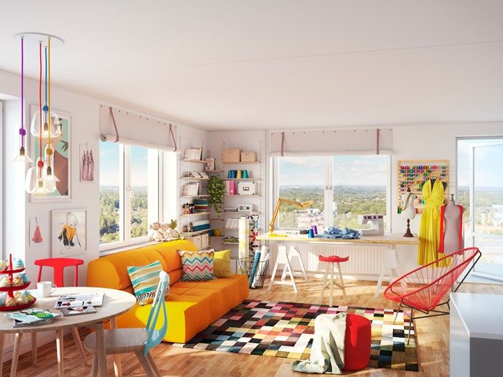 Colorful living room in Brf Blicken in Haninge.