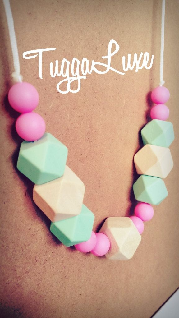 Stockholm / Teething Necklace/ Modern Style / Silicone Beads / Mom / Mothers Day / Baby Shower Gift / Nursing Necklace / Stylish / Fashion by TuggaLuxe on Etsy