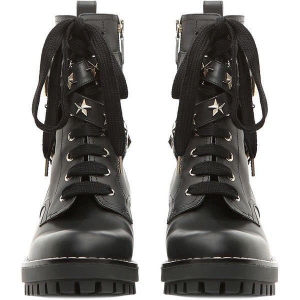 REDValentino Combat Boot With Stars (4.600 HRK) ❤ liked on Polyvore featuring shoes, boots, leather buckle boots, black buckle boots, studded boots, black leather boots and black military boots