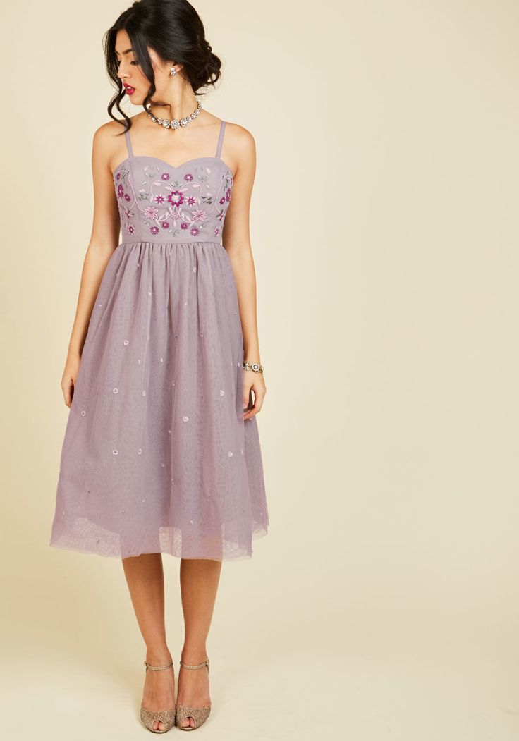 <p>Your efforts spent cultivating charm are apparent each time you flaunt this lilac midi dress! Part of our ModCloth namesake label, this tulle frock is fancied up with embroidered blooms, touches of metallic silver, and of course, a pair of side pockets. How sweetly suave!</p>
