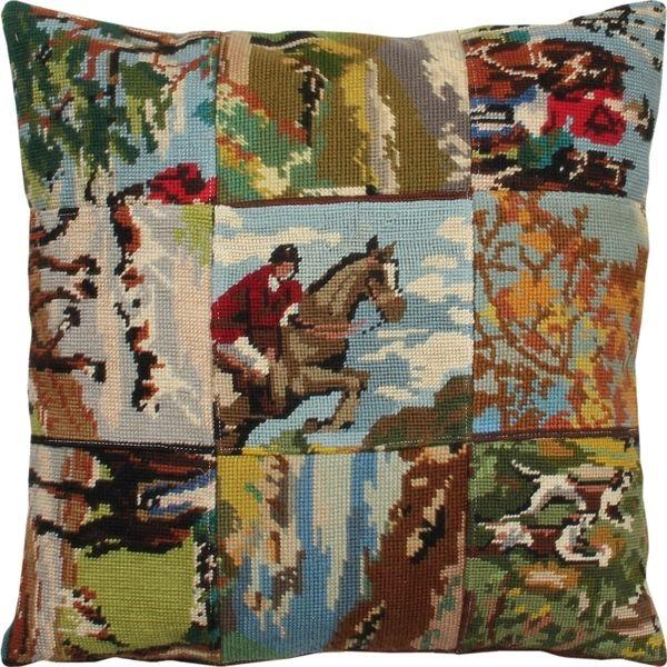 Uniek retro kussen gemaakt van diverse borduurwerkjes in patchwork.  Compleet met donzen binnenkussen.  Hoofdkleuren: bruin, blauw, groen