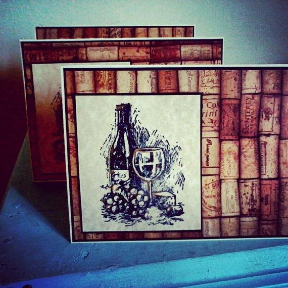 Decorative Greeting Card Wine Themed Blank by HANDMADECARDSBYBRI, $3.00