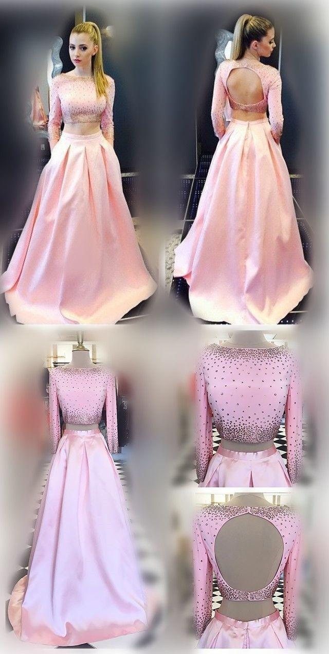 2017 prom dress, two piece prom dress, long prom dress, pink prom dress, long sleeves prom dress, party dress