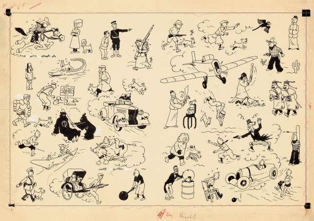 Für den Rekordpreis von rund 2,5 Millionen Euro ist eine Comic-Zeichnung von «Tim und Struppi» versteigert worden. Die Zeichnung zeigt Tim und Struppi in 34 verschiedenen Situationen.