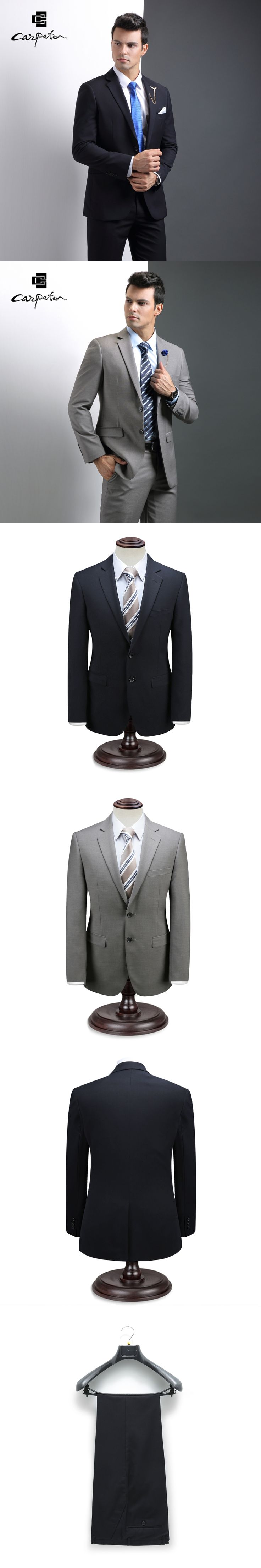 Carpaton Men Suit Gray Soild Wool Skinny Designer 2pcs Suit Brand Autumn Tuxedo Large Size Grooms Wedding Suits For Business Man