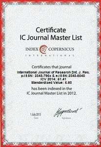 International Journal of Research (IJR) occasionally launches special issue of the Journal to publish papers presented in the NATIONAL CONFERENCE, INTERNATIONAL CONFERENCE, SEMINAR, EVENTS, etc. c…