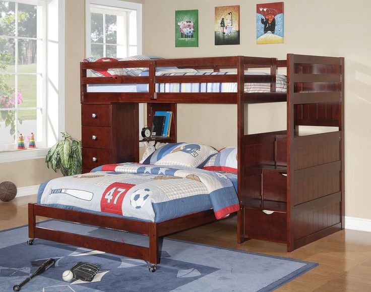 wood stairway bunk bed w builtin step storage 4 drawer chest cappuccino