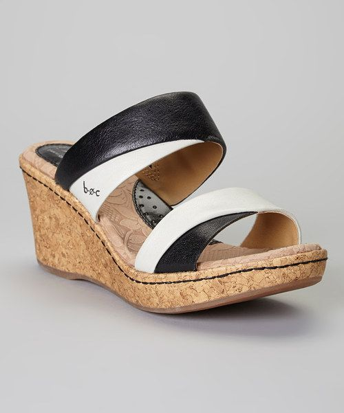 Take a look at the Black & Pearly Gray Landyn Leather Wedge Sandal on #zulily today!