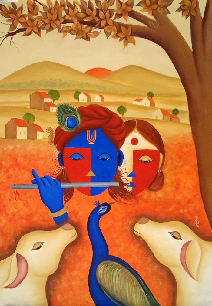 Krishna and Rising Sun by Chetan Katigar