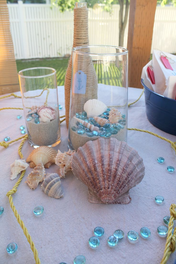 Lynn + Lou :: Nautical Baby Shower :: Shells and Sand Centerpieces
