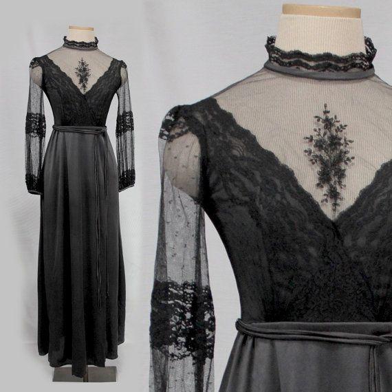 Black Victorian Dress XS  Black Boho Maxi by MadCrushVintage, $140.00