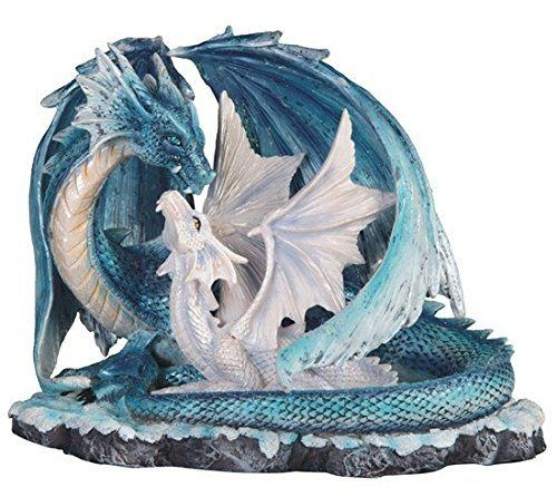 Light Blue Dragon Mom with White Baby Statue Figurine