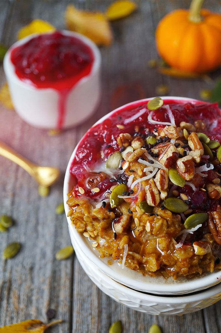 Pumpkin Oatmeal with Cranberry Compote — Plant Tribe