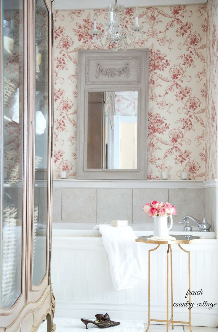 French country bathroom pictures - Red Floral Toile Gives The Bathroom A Warm French Country Feel Related