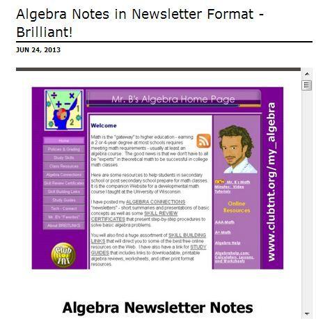 Algebra Notes in newsletter format