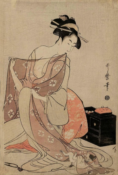 Kitagawa Utamaro - Woman and Сat Рlaying