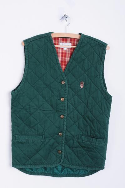 Casual Wear Adelsten Mens S/M Waistcoat Quilted Dark Green Cotton Bodywarmer - RetrospectClothes