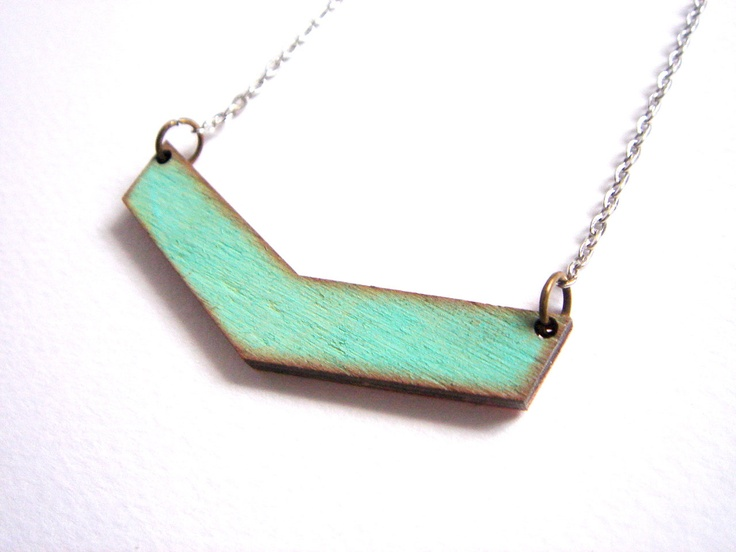Chevron Necklace, Wood Geometric Necklace,Wood Mint Necklace,Geometric Jewelry. $14.00, via Etsy.