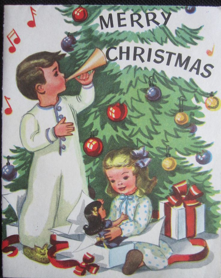 Vintage Christmas Greeting Card Little Boy and Girl Dollie Tree Horn Whitman